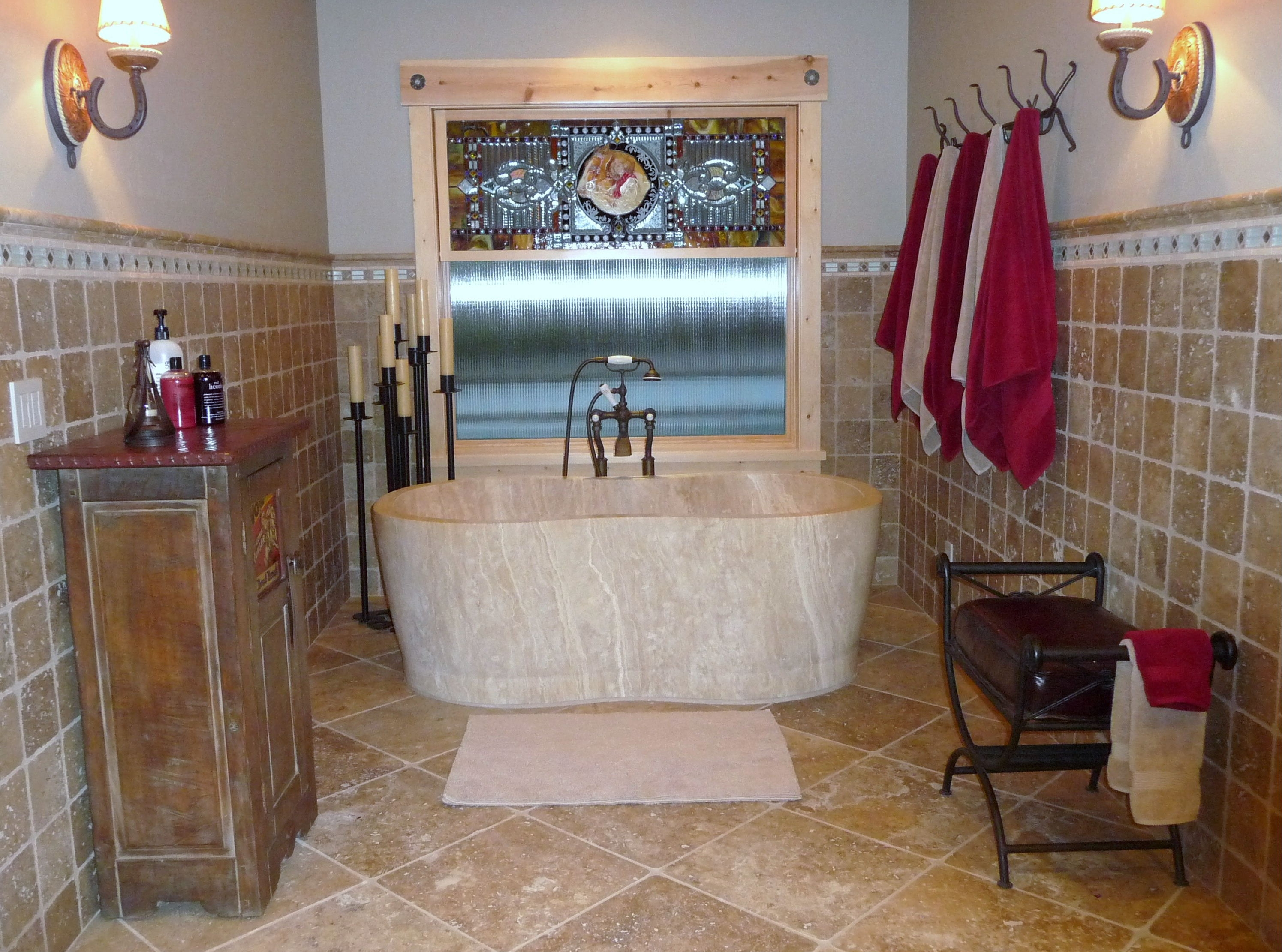 Travertine Bathtub | Natural Stone Soaking Tub - Virginia