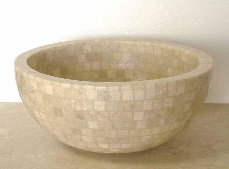 Travertine Mosaic Sink | Travertine Vanity Sink | Travertine Vessel Sink - Arabela