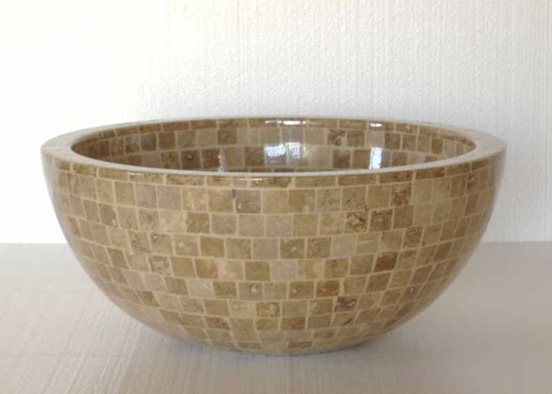Stone Mosaic Sink | Stone Vessel Sink | Travertine Mosaic Sink - Arabela