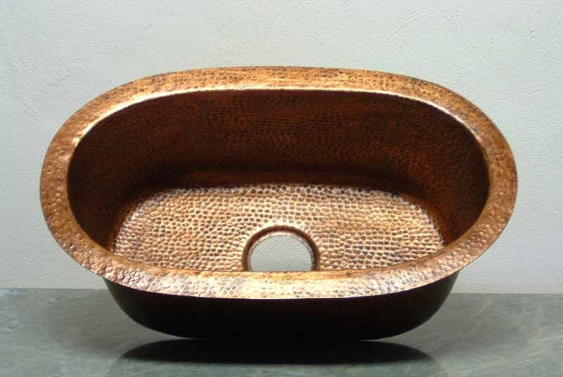 Oval Copper Bar Sink | Oval Copper Prep Sink - Camila
