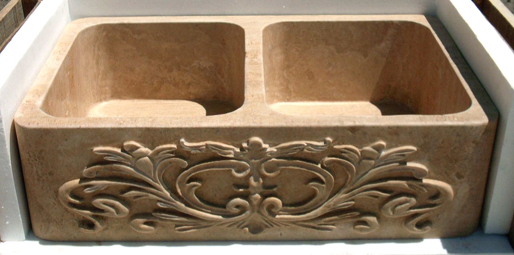 Hand Carved Stone Farm Sink - Magnolia
