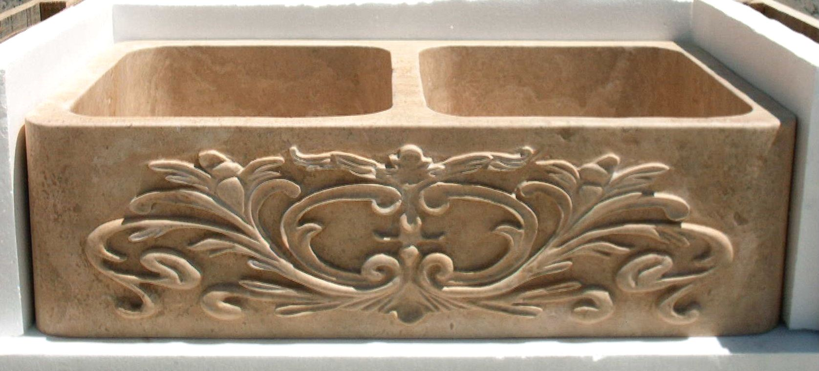 Carved Stone Apron Sink | Carved Stone Farm Sink | Stone Kitchen Sink - Magnolia