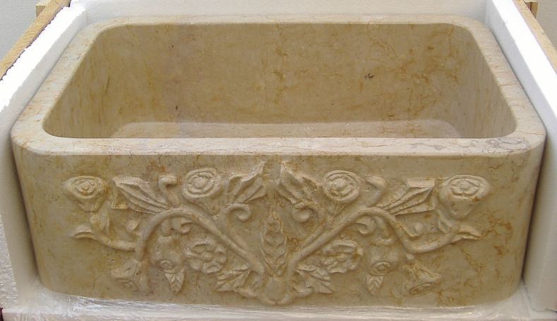 Carved Stone Apron Sink | Carved Stone Farm Sink | Stone Kitchen Sink - Rosalia