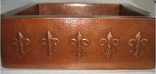 Jacinta - Copper Farmhouse Sink with Fleur de Lis Design