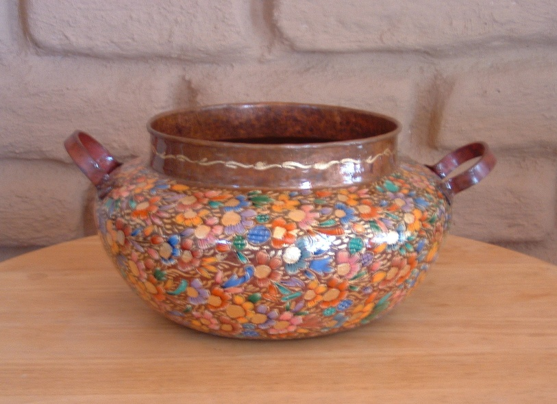 Mexican Hand Painted Copper Vase - D' Regalo