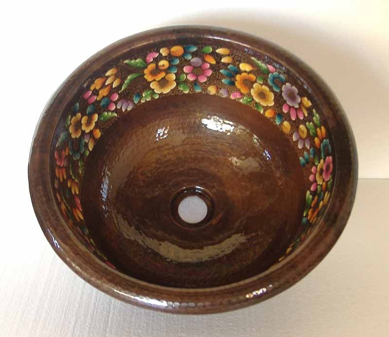 Mexican Hand Painted Copper Sink - Fiesta