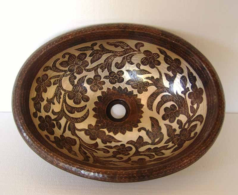 Hand Painted Oval Copper Vanity Sink | Hand Painted Oval Bathroom Sink - Florentina