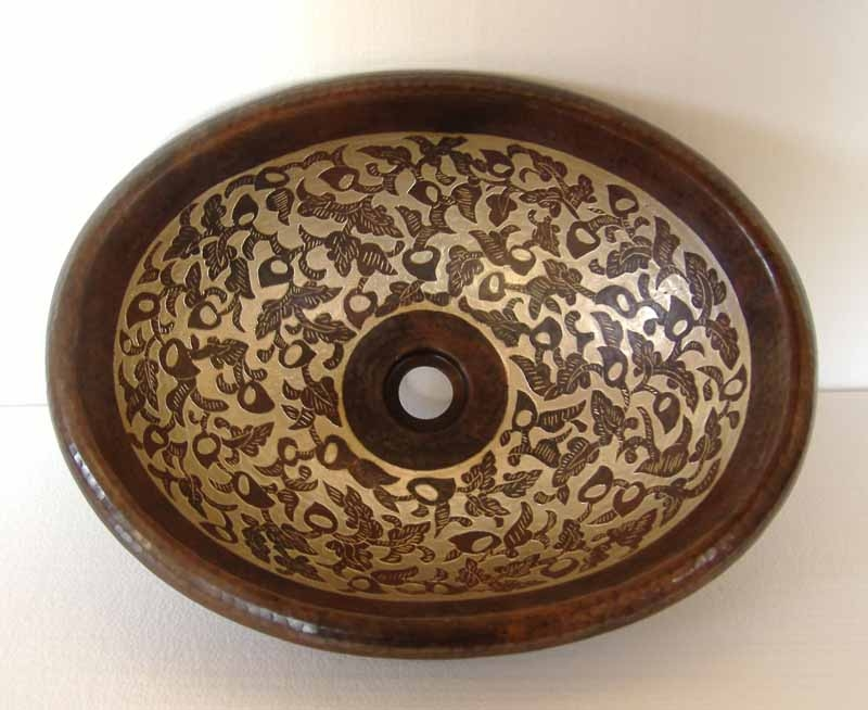 Hand Painted Oval Copper Sink | Mexican Hand Painted Sink - Jasmin