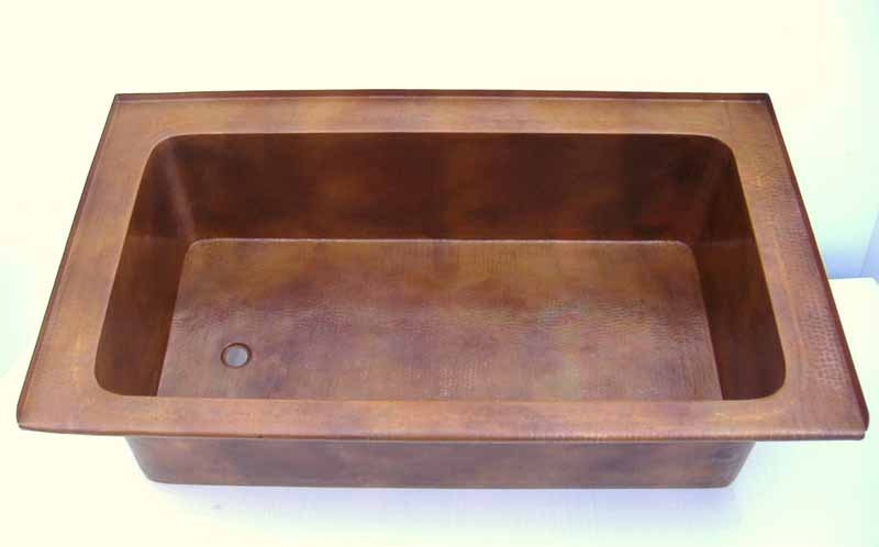 Rectangular Drop-In Copper Bathtub | Rectangular Undermount copper Bathtub | Custom Copper Bath Tub - Nadin